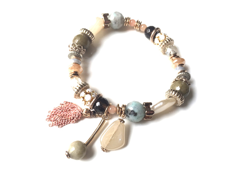 Material: Natural Stones/Pave' Beads/Crystal/Antique Elements/Pink Oxide Brass