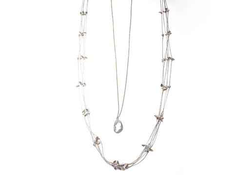 Material: Light Pink Gold Brass Chains/ Leafs/ Clear Crystal Pendant � Layers