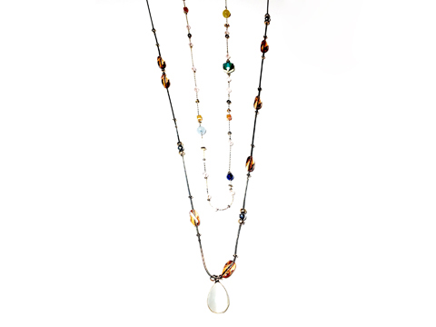 Material: Light Smoke Topaz Crystal Beads/ Opal White Glass/Antique Gold Brass Chains