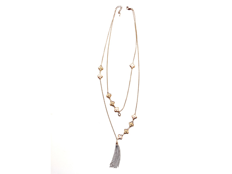 Material: Golden Shadow Crystal/Opal White Beads Antique Gold Brass Chains Layering.