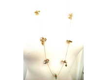 Material: Multi Colors Crystal Beads/Light Antique Gold Brass Chains & Base Metal