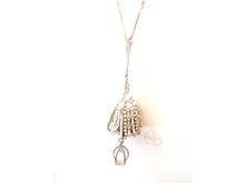 Material:  2 Layer Necklace. Opal White Crystal Beads/Clear Crystals/ Oxide White Brass Chains / Antique Gold Brass Chains & Base Metal