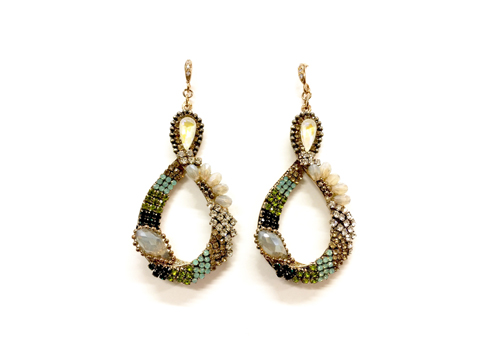 Material: Olivine Multi Colors Crystal/Antique Brass Base Metal/Gold Plated Sterling Silver Hook