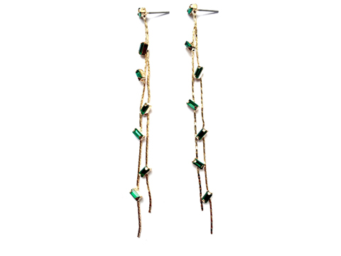 Material: Fern Green Crystal/Antique Brass Base Metal/Gold Plated Sterling Silver Hook