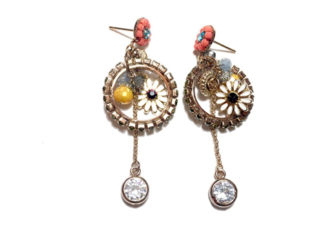Material: Crystal Beads/Resin/Enamel Glass/Base Metal/Sterling Silver Posts with Orange Flower Studs