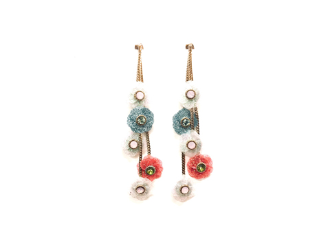 Material: Resin Flowers/Crystal Beads/Gold Plated Sterling Silver Posts