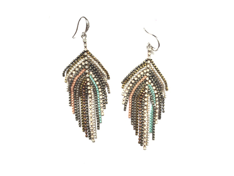 Material: Oxide Colors Tassel  Brass Chains/Opal White Crystal Beads  Sterling Silver Hook/Silver Plated Base Metal