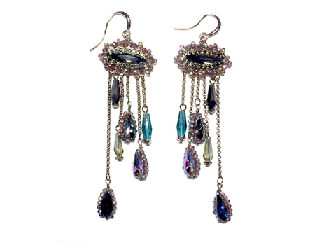 Material: Black Diamond Crystal/Multi Colors Crystal/Antique Gold Brass Base Metal/Gold Plated Sterling Silver Hook