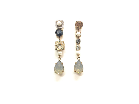 Material: Gray Opal Crystal Drop/Pearls/Crystal /Sterling Silver Surgical Post
