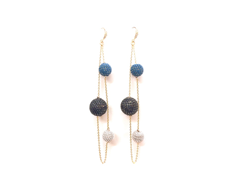 Material: Oxide Blue, Black & White Brass Chains Wrapped Base Metal Balls. Sterling Silver Hook