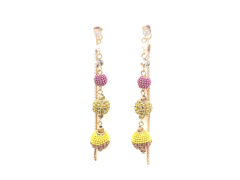 Material: Indian Pink Crystal Ball Beads/ Metallic Gold Crystal Ball/ Topaz Crystals Ball/ Crystalized Long Dangle Chains