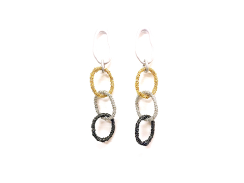 Material: Light Matte Silver/ Gold/  Silver/ Black Brass Chains/ Base Metal Rings/ Sterling Silver Posts
