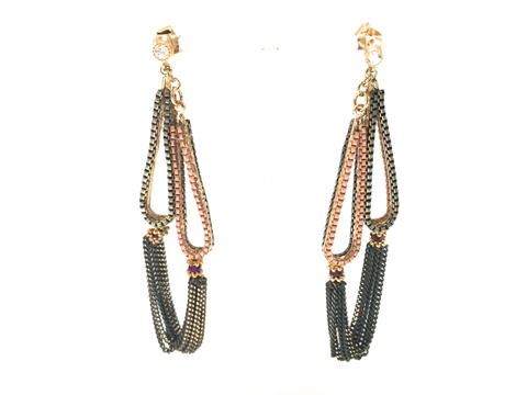 Material: Oxide Pink & Gray with Tint Of Gold Brass Chains/Crystal Beads