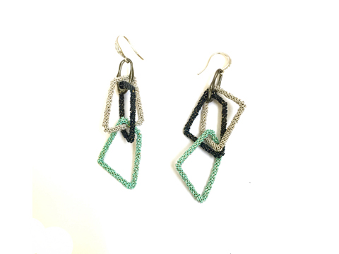 Material: Oxide Colored Brass Chains/Base Metal/Hook - Sterling Silver