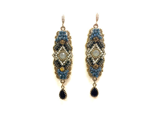Material: Blue Crystal Beads Opal Gray Crystal/ Jet Crystal Drops/Antique Gold Base Metal/ Sterling Silver Plated Hooks