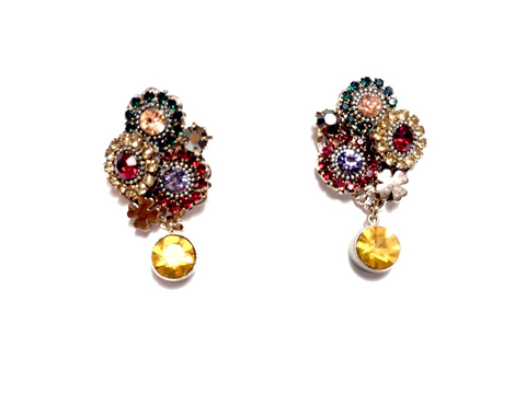 Material:  Multi Colors Crystal/Antique Brass Base Metal  Gold Plated Sterling Silver Hook
