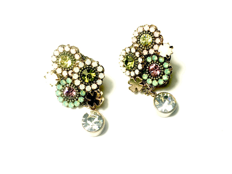 Material: Multi Pastel Colors Crystal/Antique Brass Base Metal/Gold Plated Sterling Silver Posts