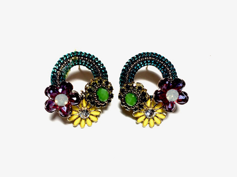Material: Multi Colors Crystal & Enamel Flowers/Antique Brass Base Metal/Gold Plated Sterling Silver Posts