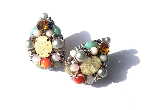 Material: Crystals, Pearls, Natural Beads, Antique Gold Base Metal, Sterling Silver Posts