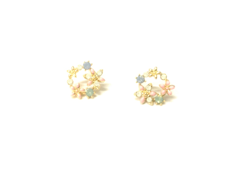 Material: Multi Colors Enamel Flowers. Pearl Beads /Light Rose Gold Base Metal Sterling Silver Posts